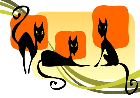 Three black cats on a striped background. Halloween  illustration. Vector