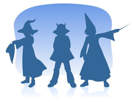 Three children silhouettes on a blue background. Halloween illustration. Vector