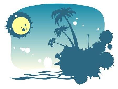 Stylized island with palm trees and moon on a night sky background.