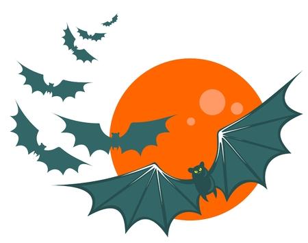 attribute: Vliegende vleermuizen op een maan achtergrond. Halloween illustratie.
