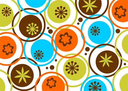Abstract circles and flowers pattern on a white background. Illustration