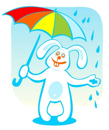 Cartoon rabbit with umbrella isolated on a blue background. Vector