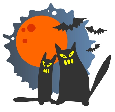 Two black cats and bats on a moon background. Halloween illustration. Vector