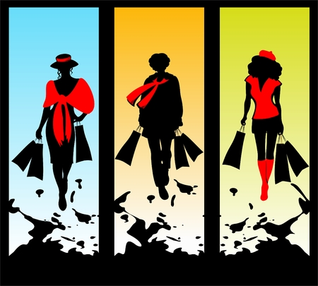 Three women silhouettes with packages on a grunge background.