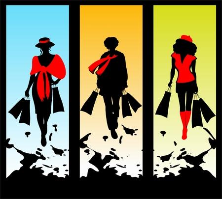 siluetas mujeres: Tres mujeres con siluetas paquetes en un fondo grunge.