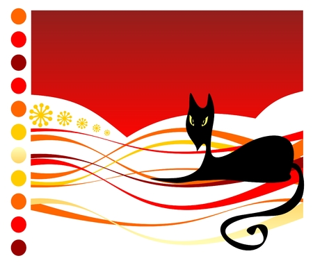 Stylized black cat on a red striped background. Halloween illustration. Vector