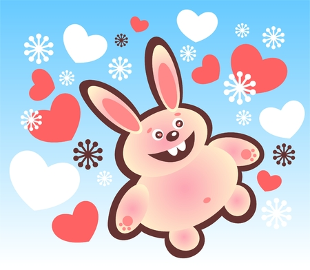 Cartoon happy rabbit and hearts on a blue background. Vector
