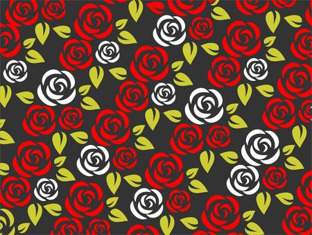 red rose black background: Stylized red and white roses pattern on a black background. Illustration