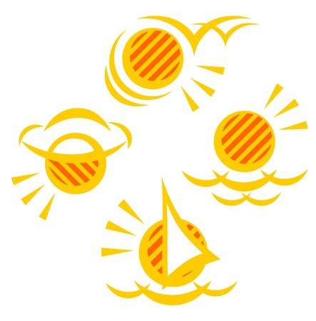 Four stylized sun symbols on a white background. photo