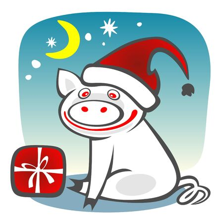 Christmas piggy and box on  a blue sky background. Christmasl illustration. Vector