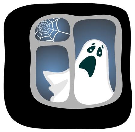 phantom:  phantom in a dark window with a cobweb. Halloween illustration. Illustration