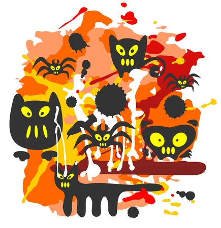 Monsters and grunge pattern on awhite background. Halloween illustration. Vector