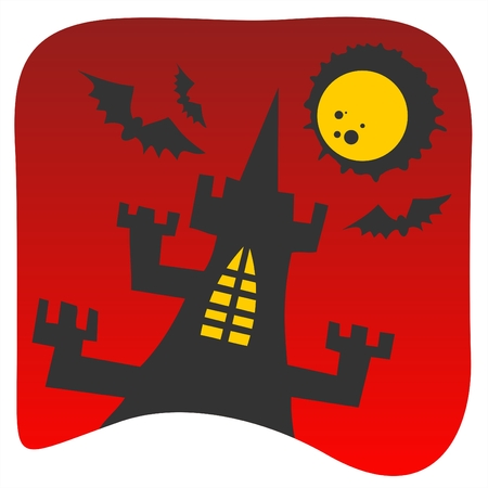 castle silhouette: Black castle silhouette on a red background. Halloween illustration. Illustration