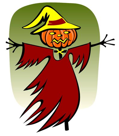 scarecrow on a green background. Halloween illustration. Vector