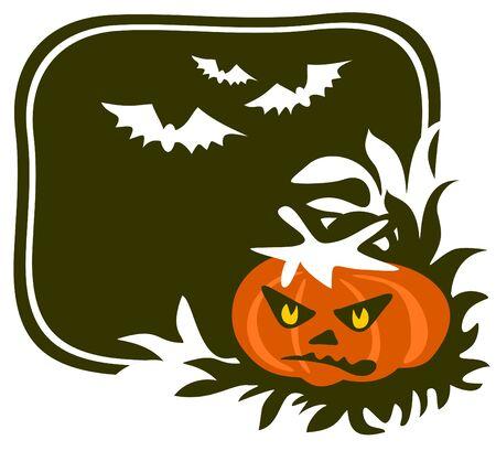 attribute: pompoen op een zwarte achtergrond. Halloween illustratie.