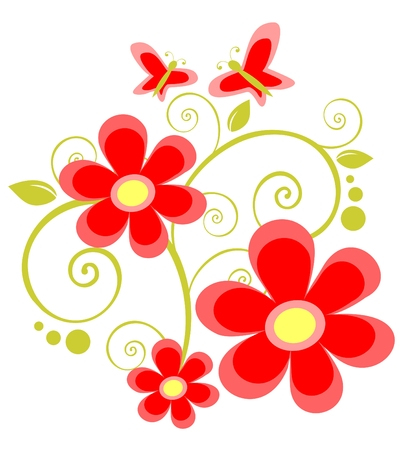red flowers and butterflies on a white background. Vector