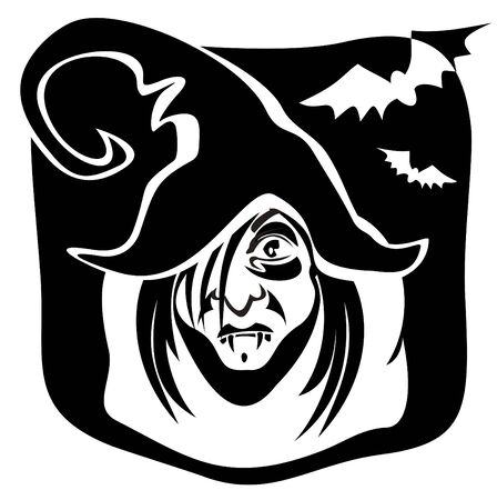 witch  on a black background. Halloween illustration. Vector