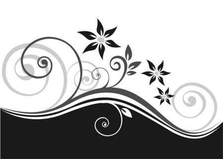 Abstract floral pattern on a black-and-white background. Illustration