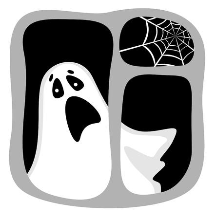 phantom: Cartoon ghost in a dark window with a cobweb. Halloween illustration.