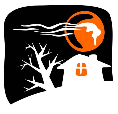 Rural house silhouette on a black background. Halloween illustration. Stock Vector - 3590017