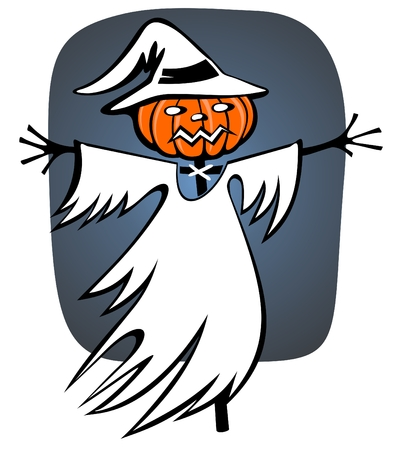 Cartoon scarecrow on a dark background. Halloween illustration. Vector