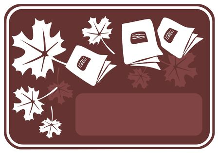 Brown autumn frame with leaves and school copybooks. Vector