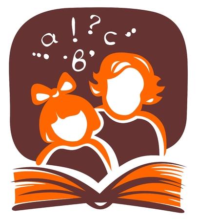 genitore figlio: Silhouette stilizzata della ragazza e la donna, la lettura del libro.  Vettoriali