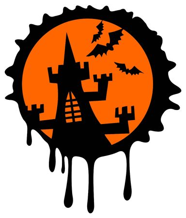 castle silhouette: Black castle silhouette on a orange background. Halloween illustration.