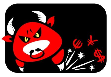 attribute: Cartoon rode stier en geld. Symbool van het spel op een beurs.