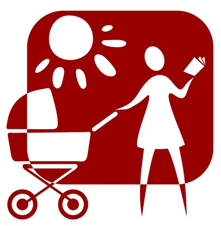 Symbol of motherhood. Stylized woman with   carriage on a solar  background. Stock Vector - 3631778