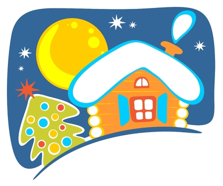 Cartoon rural house and christmas tree on a sky background.