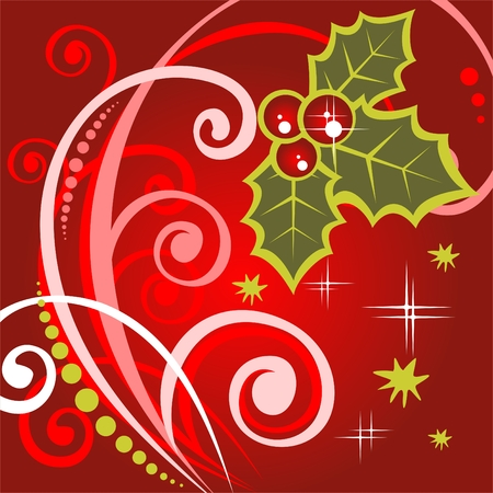 Stylized holly berry and  curves on a red background.