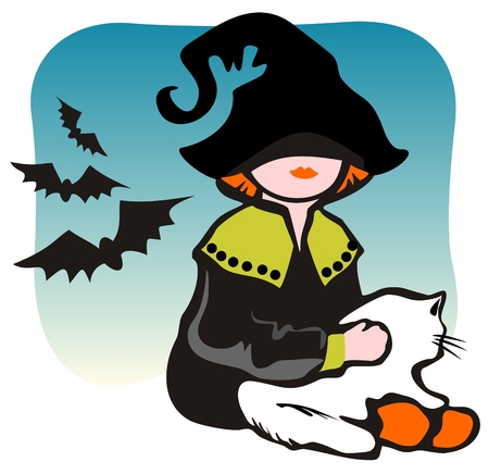Halloween girl with cat and flying bats on a blue background. Vector
