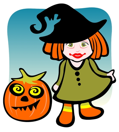 Halloween girl and pumpkin on a blue background. Vector