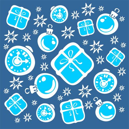 attributes: Ornate christmas attributes: packing boxes, gifts, stars, balls.