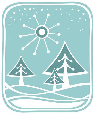Cartoon fur-trees and sun on a snow background.
