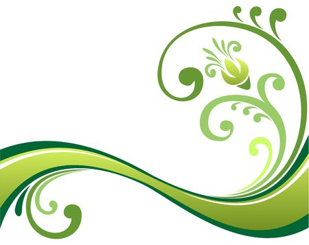 Abstract green floral curves on a white background.