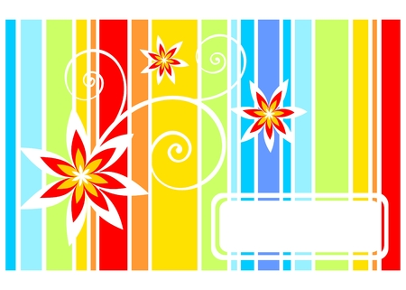 Abstract pattern from strips and flowers on a white background. Vector
