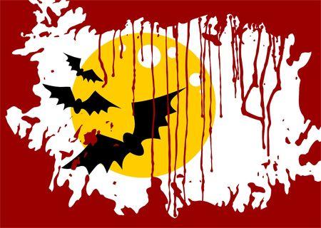 Cartoon moon and bats on a grunge striped background. Halloween illustration. illustration