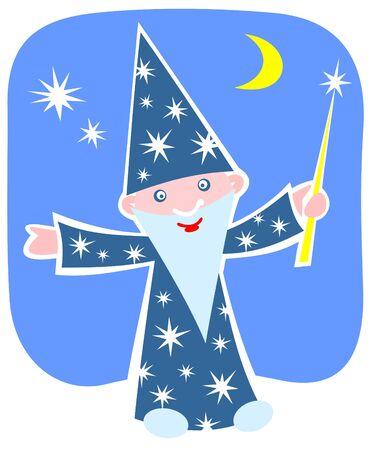 astrologer: Cartoon happy astrologer on a night sky background.