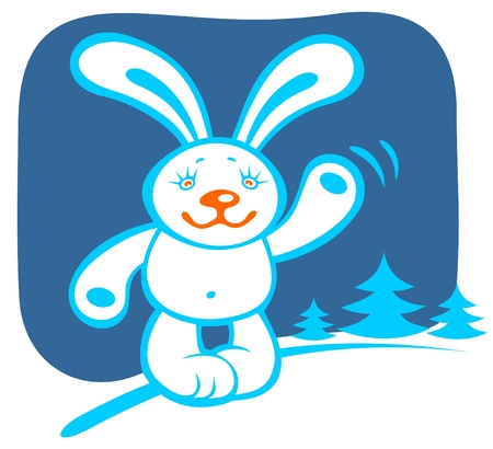 Cartoon  rabbit on a blue winter background with trees. Vector