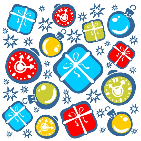 the attributes: Ornate christmas attributes: packing boxes, gifts, stars, balls.