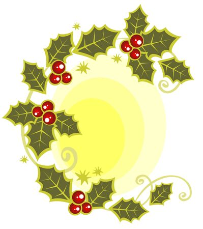 Christmas symbol from holly berry leaves pattern. Illustration