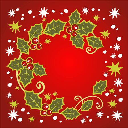 holly berry: Christmas symbol from holly berry leaves pattern on a red background.