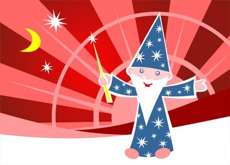 astrologer: Cartoon happy astrologer on a red striped background. Illustration