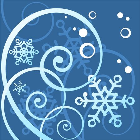 simplify: White pattern with snowflakes and curls on a dark blue background. Illustration