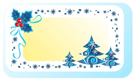 holly berry: Stylized holly berry and christmas trees on a white background. Illustration