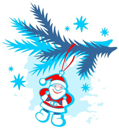Cartoon toy santa on a blue grunge background. Christmas illustration. Vector