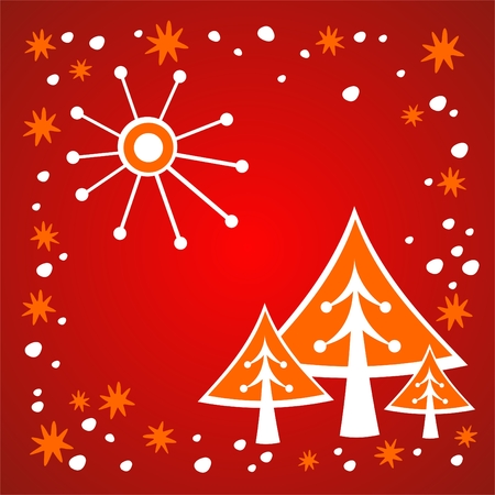 Cartoon christmas trees on a red winter background. Vector