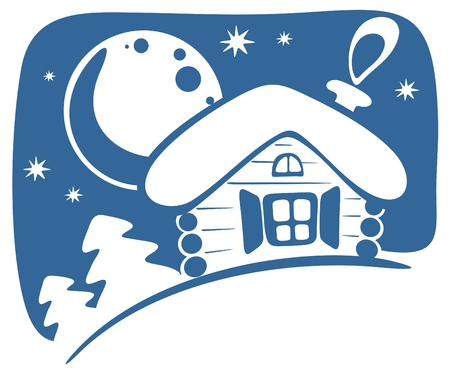 Cartoon rural house and moon on a sky background. Vector